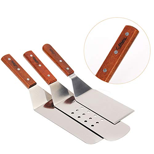 - Stainless Steel Spatula Set - Nosiva Cooking Utensils Kit, Smooth Cooking Spatula, Metal Perforated Spatulas, Turner and Scraper with Wooden Handles for Teppanyaki Outdoor Grills Griddle