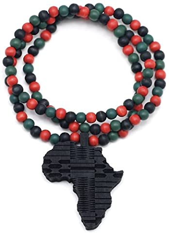GWOOD Africa Good Wood All Wood Replica Pendant With 30 Inch Long Necklace - Black with R G Blk (Chief Keef Pendant)