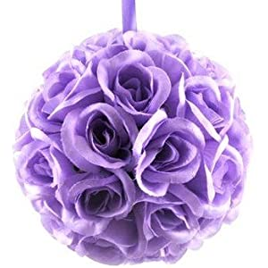 """Onlinepartycenter Collection 10"""" Flower Rose Kissing Ball Multi Color Home Wedding Decoration (1, Lavender) 28"""