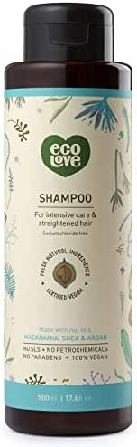 ecoLove Natural Shampoo for Straightened Hair and Dry Damaged Hair with Organic Moroccan Argan Oil Macadamia Oil and Shea Oil, No Sodium Chloride Vegan Cruelty Free SLS Free, 17.6 oz