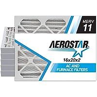 Aerostar 16x20x2 MERV 11 Pleated Air Filter, Pleated (Pack of 6)
