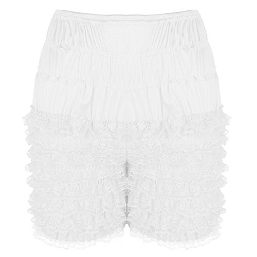 dPois Womens Sexy Tiered Ruffle Bloomers Panties Sissy Soft Lace Dance Pettipants Booty Shorts Underwear White Large(Waist: 29.0-56.5
