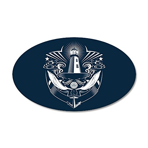 35x21 Oval Wall Vinyl Sticker Lighthouse Crest Anchor Dolphins ()