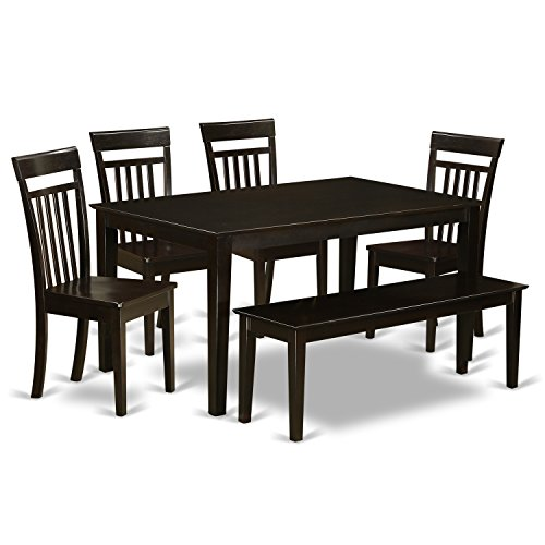 East West Furniture CAP6S-CAP-W 6 PC Set Table and 4 Chairs for Kitchen and 1 Bench, Wood Seat Cappuccino Finish