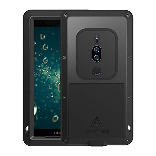 Simicoo Sony Xperia XZ3 Aluminum Alloy Metal Bumper Silicone Built-in Gorilla Glass Hybrid Military Shockproof Heavy Duty Armor Defender Tough Back Cover for Sony Xperia XZ3 (Black, XZ3)