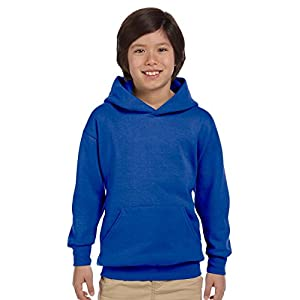 Hanes 7.8 oz Youth COMFORTBLEND EcoSmart Fleece Pullover Hood,Medium,Deep Royal