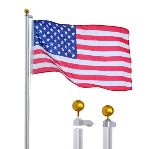 R Rothania 16'Aluminum Sectional Flag Pole Kit Outdoor Garden Halyard Pole + 1PC US Flag 3'x5'
