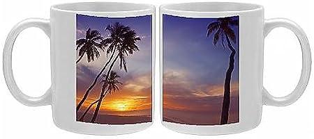 Taza entre palmeras y océano en la puesta de sol, de las Maldivas ...