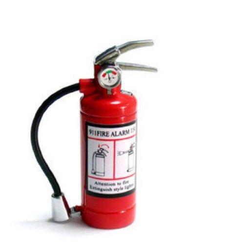 Lighter Slim Led (Cute Mini Metal Fire Extinguisher Butane Refillable Cigarette Lighter with LED Flashlight)