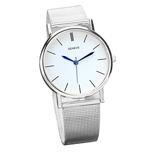 Winhurn Classic Silver Stainless Steel Band Quartz Women Wrist Watch