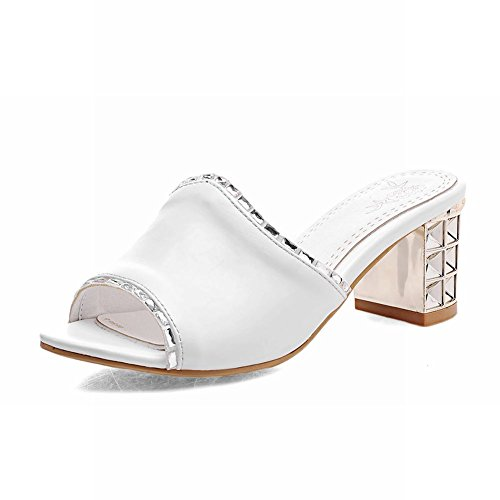 Carolbar Chic Womens Shiny Rhinestone Sweet Cute Casual Chunky Mid Heel Sandals Slippers White kQJiN