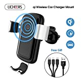 licheers Wireless Car Charger Mount, Wireless Car Charger Phone Holder with Free 3 in 1 Charge Cable Compatible with iPhone X/8/8 Plus Samsung Galaxy S8/S8 Plus/S7/S7 Edge and more(Silver)