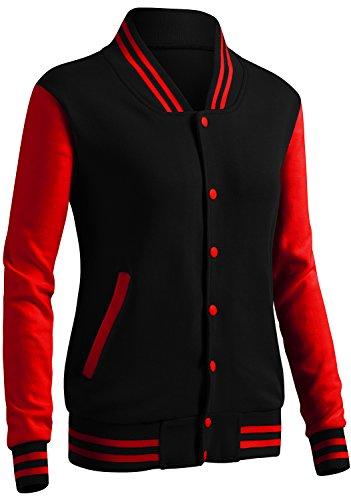 CLOVERY Women's Varsity Letterman Long Sleeve Jacket BlackRed XL+ ()