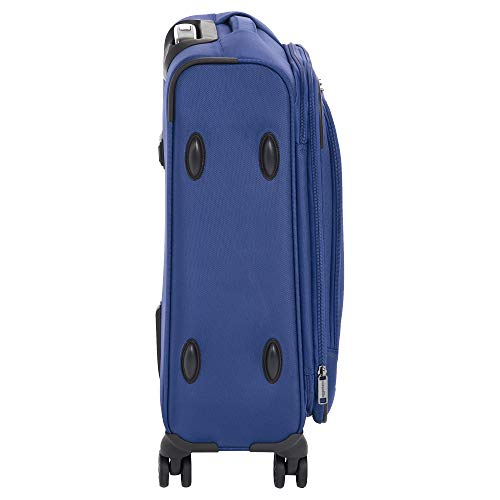 AmazonBasics Expandable Softside Carry-On Spinner Luggage Suitcase With TSA Lock And Wheels - 21 Inch, Blue