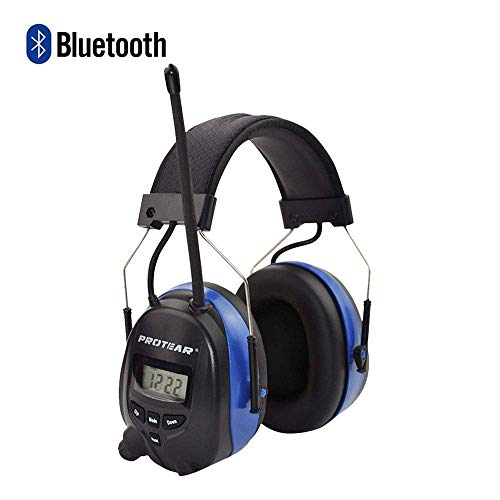 PROTEAR Wireless Bluetooth Headphones Noise Cancelling Radio AM/FM Safety Earmuffs with Digital Display for Mowing,NRR 25dB