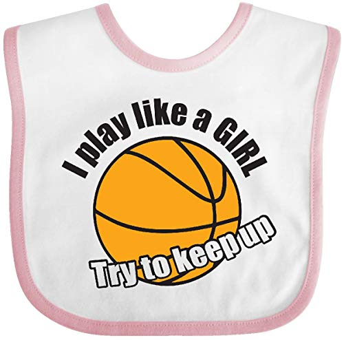 Inktastic I Play Like a Girl. Try to Keep Up Baby Bib White/Pink ()
