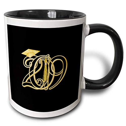 3dRose Beverly Turner Graduation Design - Intertwining 2019 with Graduation Cap and Tassel, Gold on Black Color - 15oz Two-Tone Black Mug (mug_301990_9)