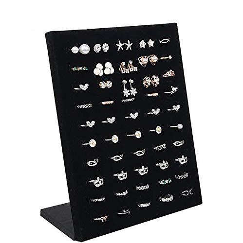 Auch Black Velvet L Shaped 50 Slots Ring Display Storage Organizer Holder Ring Trays Showcase Display Jewelry Organizer