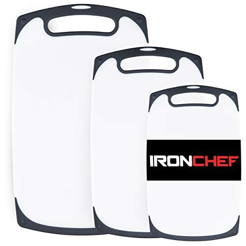Iron Chef 3-Piece Plastic Cutting Board Set Thick Hard Plastic Non-porous surface | White Cutting Boards with Black Non-Slip Silicone Edges BPA-Free and Dishwasher Safe