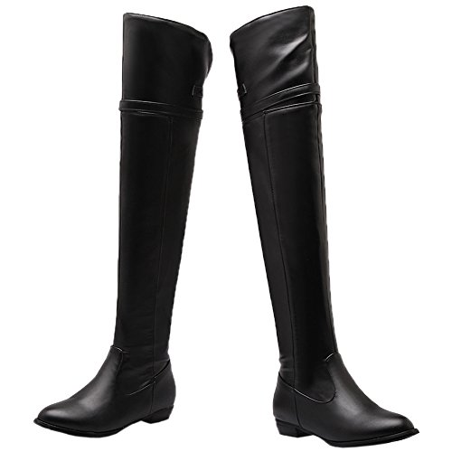 Knee Boots High Over The Knight Flats Boots Black Adjustable Strap Boots HooH Buckle Women's Thigh qHaR77A