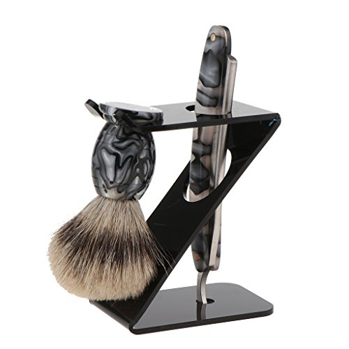 Baoblaze 3 Pieces Professional Men's Shaver Gift Kit Folding Straight Razors Shaving Brush with Shave Tools Holder Stand Rack