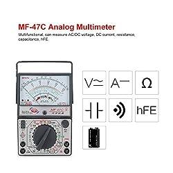 Pandamama MF-47C Analog Multimeter DC/AC Voltage Current Meter Infrared Detection Handheld hFE Tester Multitester Buzzer Battery Test