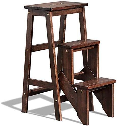 YZjk Taburete Plegable fácil y multifunción, Escalera Plegable de Madera de 3 Niveles, Escalera Antideslizante para ático doméstico, Soporte de Flores para el hogar, Carga 120 kg (marrón Oscuro): Amazon.es: Hogar