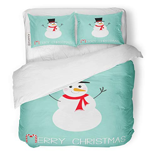 (Emvency Decor Duvet Cover Set King Size Merry Christmas Candy Cane Snowman Carrot Nose Hat Red Scarf and Snowflakes 3 Piece Brushed Microfiber Fabric Print Bedding Set)