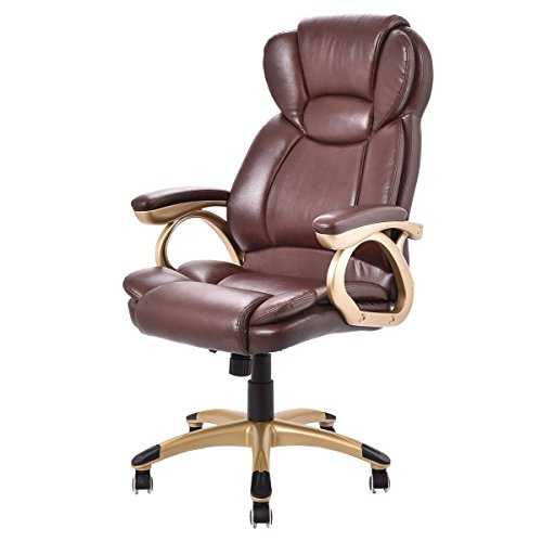 Brown Ergonomic Faux Leather Modern Executive Computer High Back PU Desk Task Office Chair Boss Style - (Bedroom Counter Height Computer Desk)