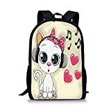 School Bags Cartoon,Cartoon Kitty with Headphones Heart Bubbles and Musical Tunes Big Eye