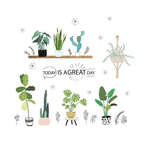 AWAKINK Cartoon Cactus Green Plants Leaves Pastoral Style Wall Stickers Wall Decal Vinyl Removable Art Wall Decals for Bedroom Living Room Nursery Room Childrens Bedroom