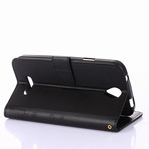 Yiizy DOOGEE X6 Custodia Cover, Erba Fiore Design Sottile Flip Portafoglio PU Pelle Cuoio Copertura Shell Case Slot Schede Cavalletto Stile Libro Bumper Protettivo Borsa (Nero)