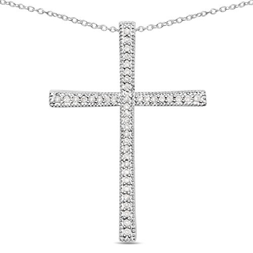 Huang and Co. Cross 0.12 Carat Genuine White Diamond .925 Sterling Silver Pendant