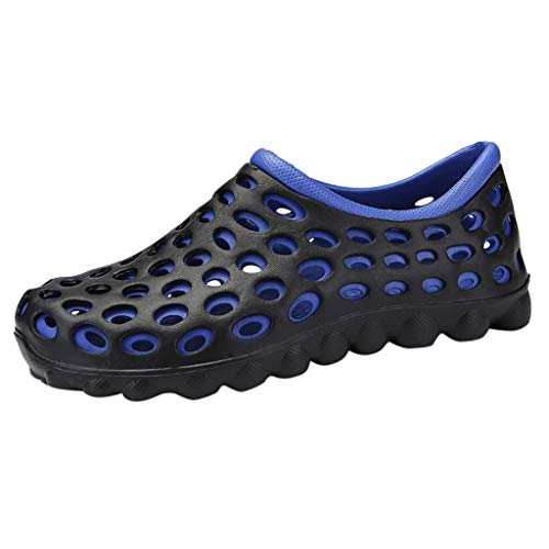 iHPH7 Sandals Shoes Classic Comfort Slip On Casual Water Beach Slippers Solid Hook Hollow Out Casual Breathable Flats Mens (45,Blue)
