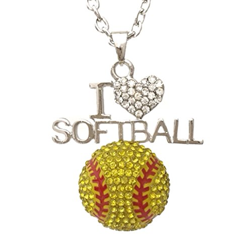 [I Love Softball Bling Rhinestone Silver Tone Necklace] (Little Girl Gypsy Costumes)