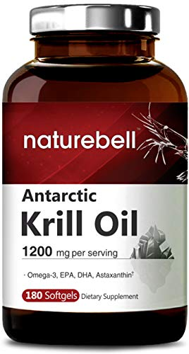 Antarctic Krill Oil Supplement, 1200mg Per Serving, 180 Soft-gels, Best Source of Natural Omega-3, EPA, DHA and Astaxanthin, Non-GMO
