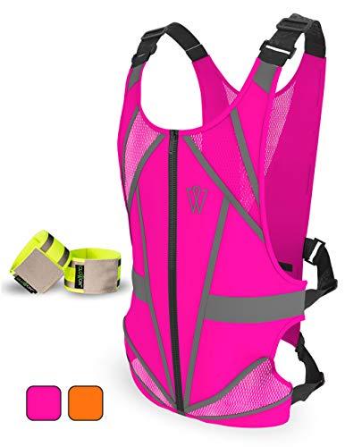 W Reflective Running Vest | Reflective Gear for Running, Cycling, Jogging, Walking, Motorcycle | Adjustable Safety Vest | Front Zipper | Back Pocket | Bonus Set of 2 Bands | for Men and Women (Pink)