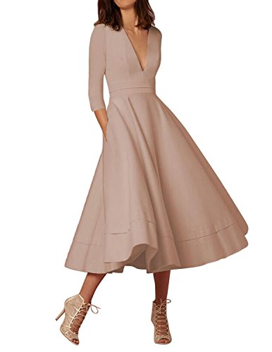Sue&Joe Women's Deep V Neck Dress With Pocket Tea Length Half Sleeve Retro Dress, Nude, Tagsize M=USsize - Nude Women Retro