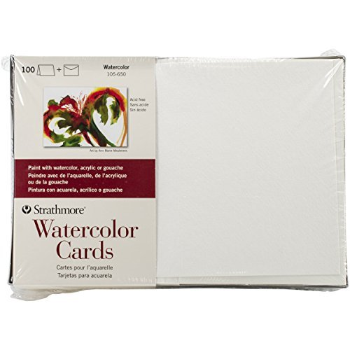 Strathmore 105650 Watercolor Cards, 5-Inch x 7-Inch, 100-Pack (Cards Watercolor Christmas)