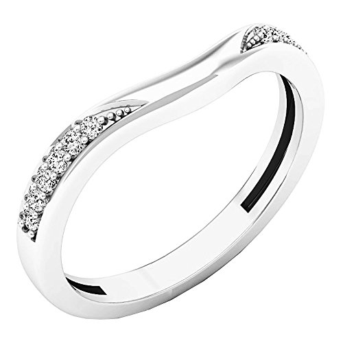 0.10 Carat (ctw) 14K White Gold Round Diamond Ladies Wedding Band Guard Ring 1/10 CT (Size 6) by DazzlingRock Collection