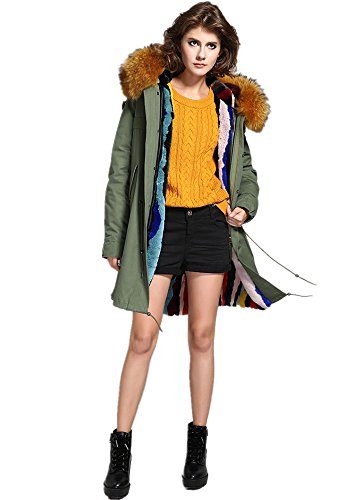 Melody Women's Army Green Large Raccoon Fur Collar Hooded Long Coat Parkas  Outwear Rabbit Fur Lining Winter Jacket
