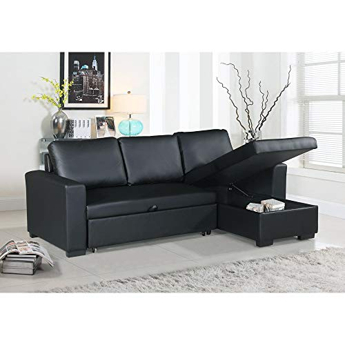 x Leather Convertible Sectional Sofa, Black ()