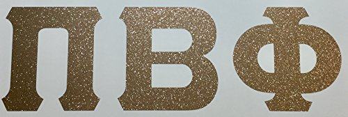 Pi Beta Phi Sorority Gold Glitter Letter Sticker Decal Greek 2 Inches Tall for Window Laptop Computer Car Pi Phi