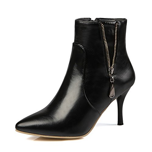 Women's Pointed Closed Toe High Heels Soft Material Solid Zipper Boots