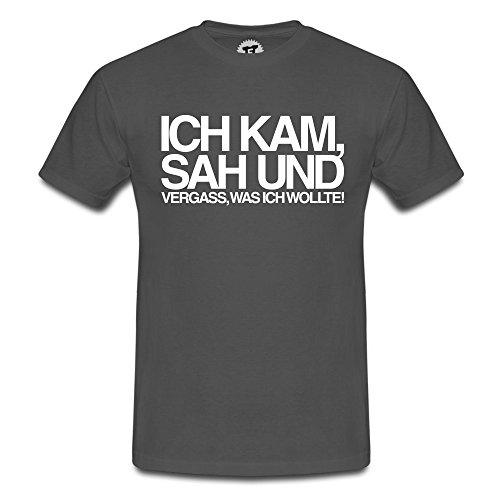 FABTEE - Ich kam sah und vergass was ich wollte - Herren T-Shirt - verschiedene Farben - Größen S-4XL, Größe:M;Farbe:Grau meliert