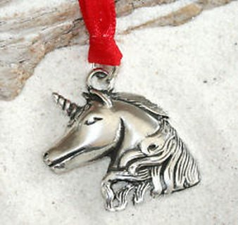 Pixel Jewelry 1985 - UNICORN FAIRY HORSE Pewter Christmas ORNAMENT Holiday (Horse Pugster)