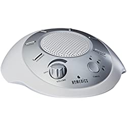 HoMedics, White Noise Machine, Sleep Sound Machine with 6 Nature Sounds and Timer, Spa Relaxation, Sleep Therapy for Home, Office and Travel, SS-2000G/F-AMZ Silver