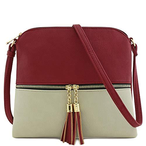 Lightweight Color-block Medium Crossbody Bag with Tassel (Wine/Light Grey)