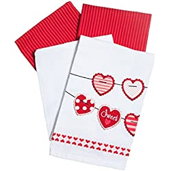 DII Sweet Hearts on a String & Pink and Red Stripe Towels - Set of 2 Valentine's Day Kitchen Towels