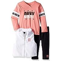 DKNY Baby Girls 3 Piece Long Sleeve T-Shirt, Mock Neck Vest, and Pant Set